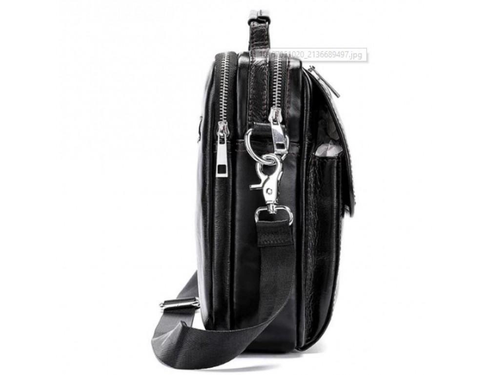 Маленькая мужская сумка через плечо тёмно-коричневого цвета Bexhill Bx9024-1 - Фото № 4