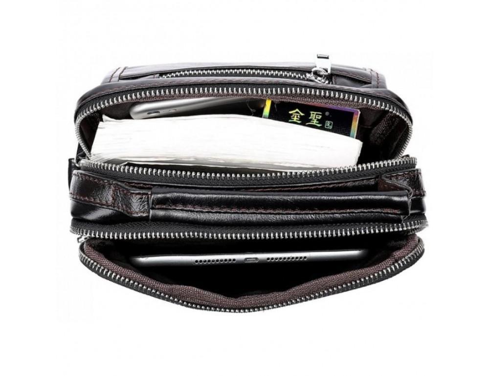 Маленькая мужская сумка через плечо тёмно-коричневого цвета Bexhill Bx9024-1 - Фото № 5