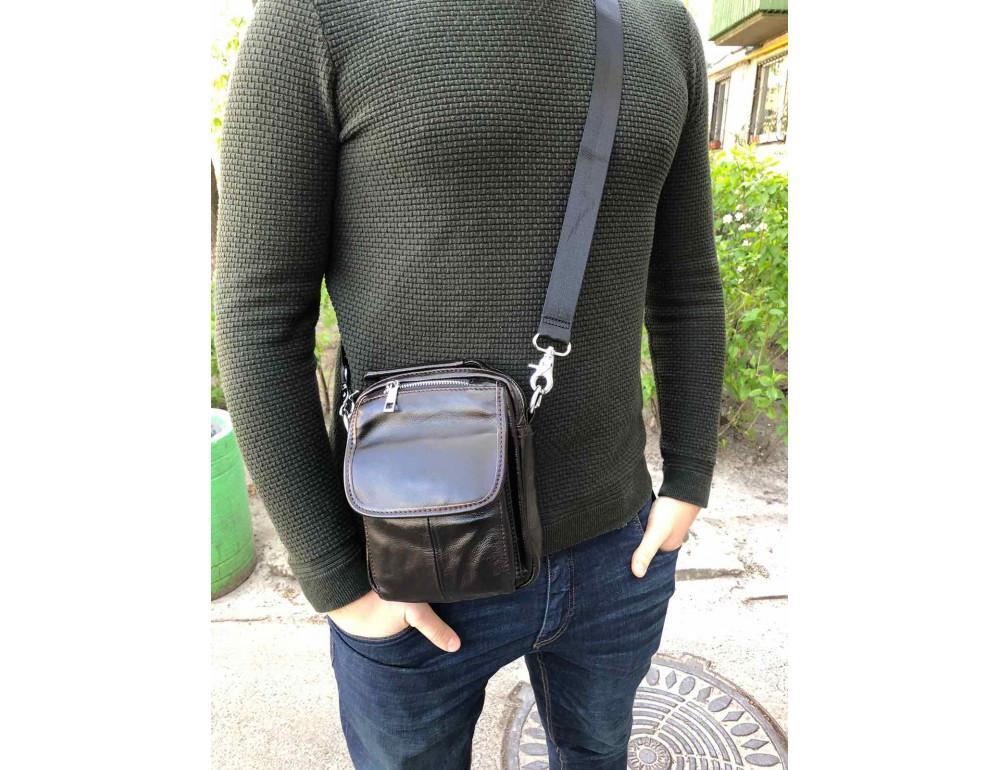Маленькая мужская сумка через плечо тёмно-коричневого цвета Bexhill Bx9024-1 - Фото № 2