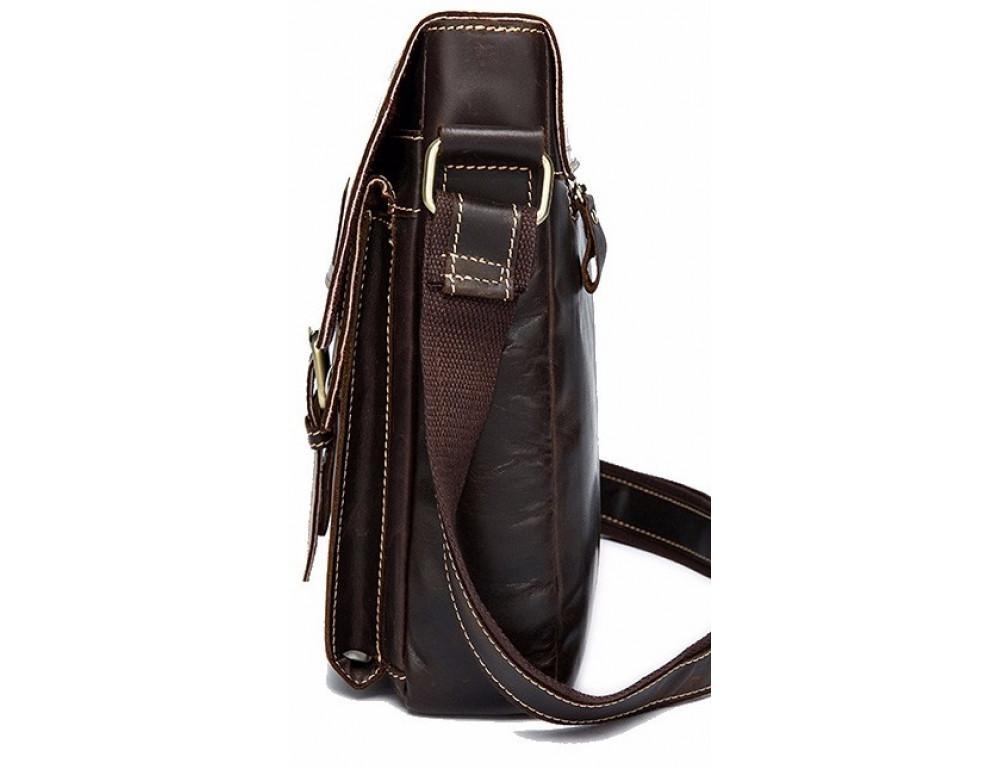 Тёмно-коричневая кожаная сумка через плечо BEXHILL BX9040 - Фото № 3