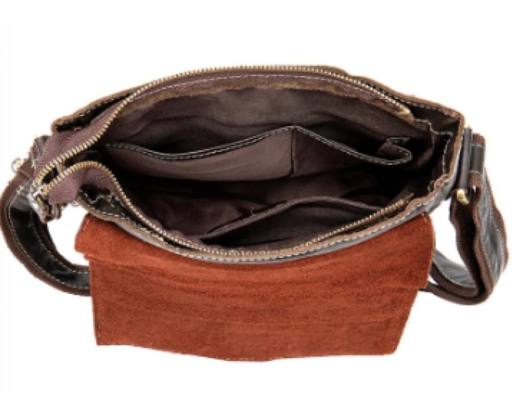 Тёмно-коричневая кожаная сумка через плечо BEXHILL BX9040 - Фото № 5