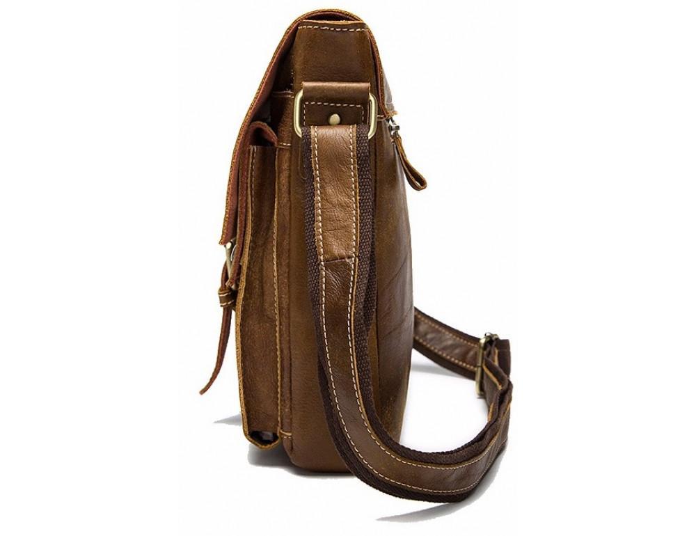 Светло-коричневая кожаная сумка через плечо Bexhill BX9040C - Фото № 3
