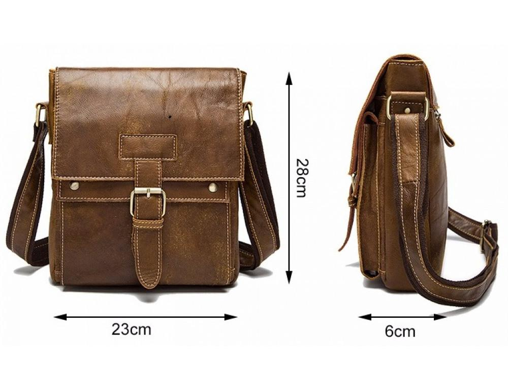 Светло-коричневая кожаная сумка через плечо Bexhill BX9040C - Фото № 5
