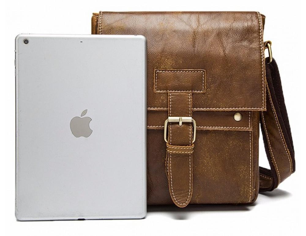 Светло-коричневая кожаная сумка через плечо Bexhill BX9040C - Фото № 6