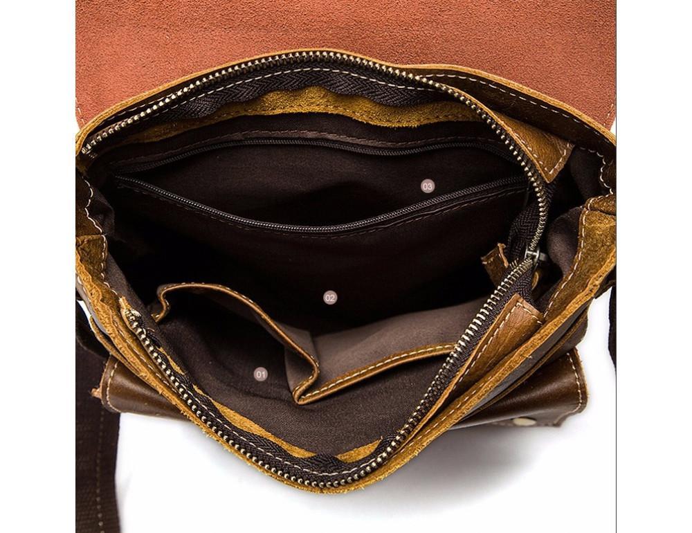 Светло-коричневая кожаная сумка через плечо Bexhill BX9040C - Фото № 7