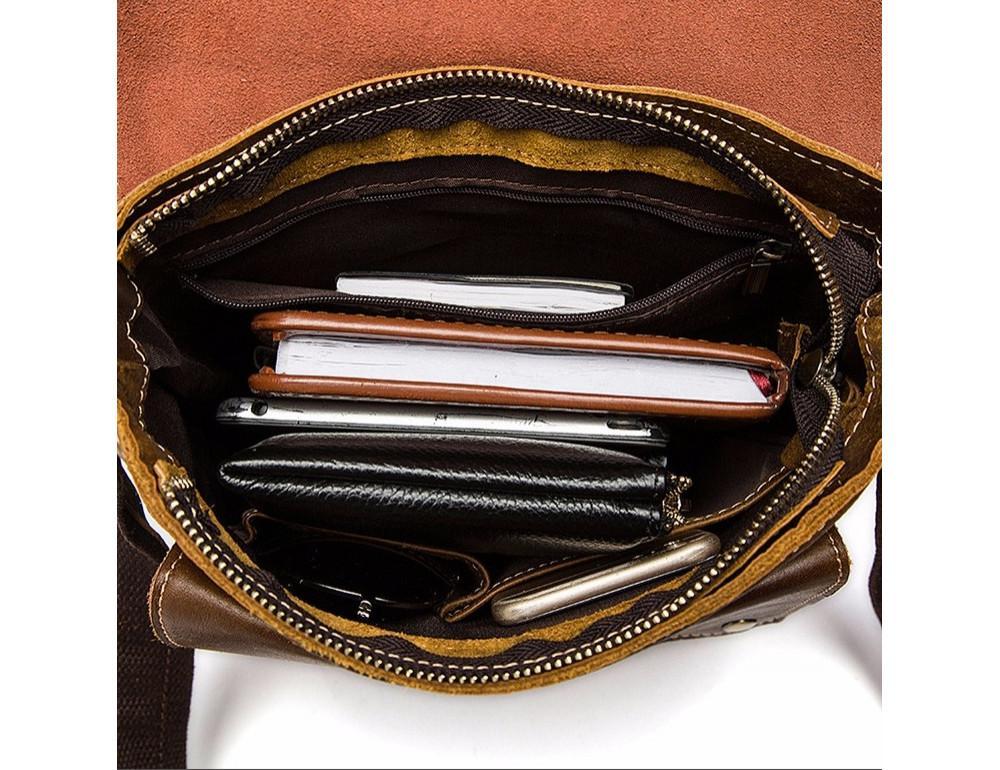 Светло-коричневая кожаная сумка через плечо Bexhill BX9040C - Фото № 8