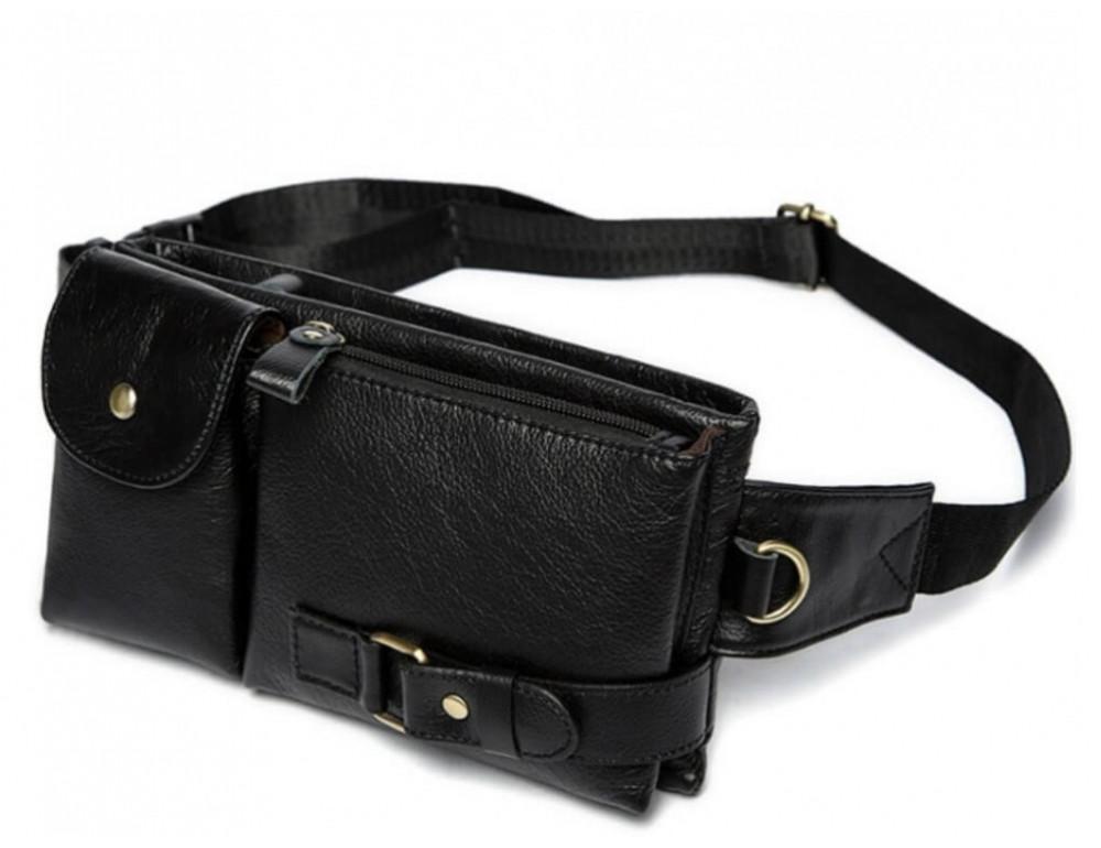 Чёрная кожаная сумка на пояс Bexhill Bx9080A - Фото № 1