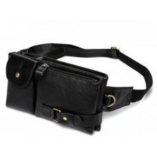 Чёрная кожаная сумка на пояс Bexhill Bx9080A