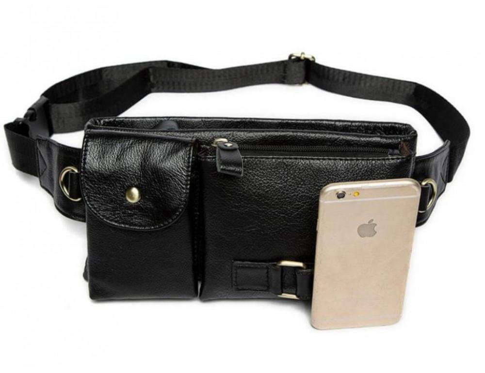 Чёрная кожаная сумка на пояс Bexhill Bx9080A - Фото № 4