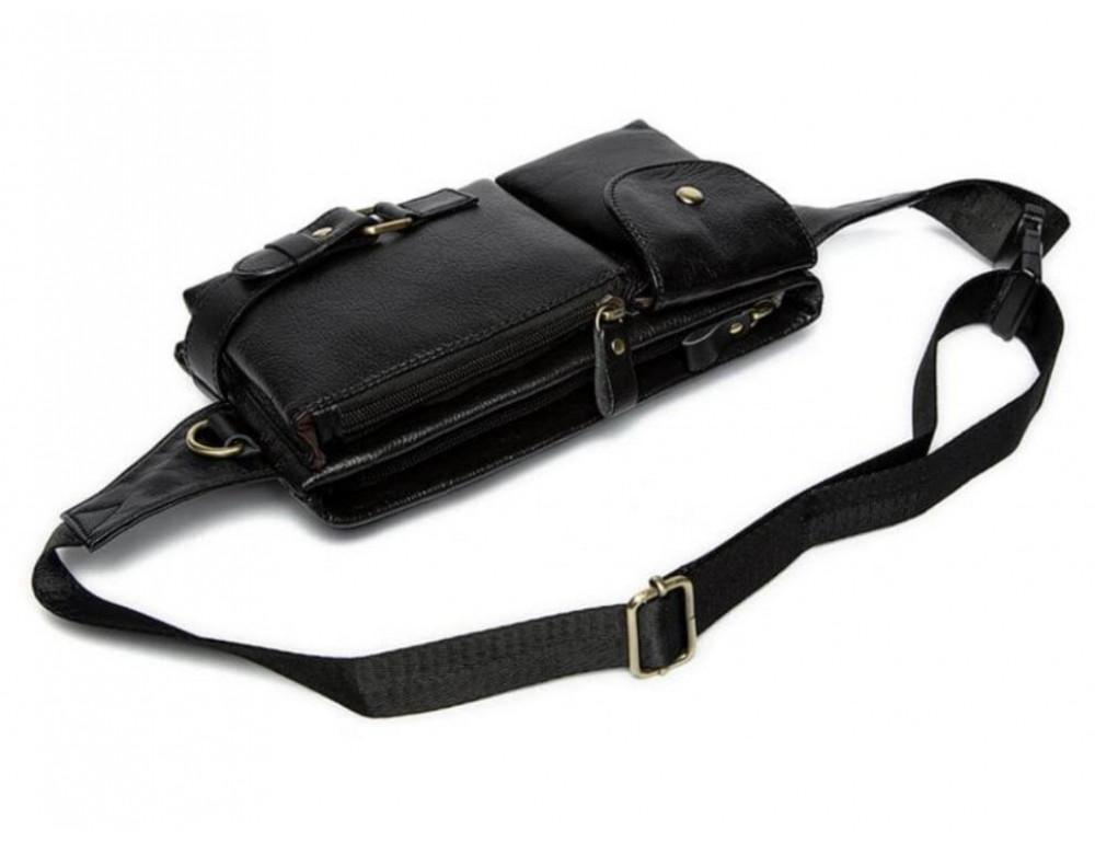Чёрная кожаная сумка на пояс Bexhill Bx9080A - Фото № 5