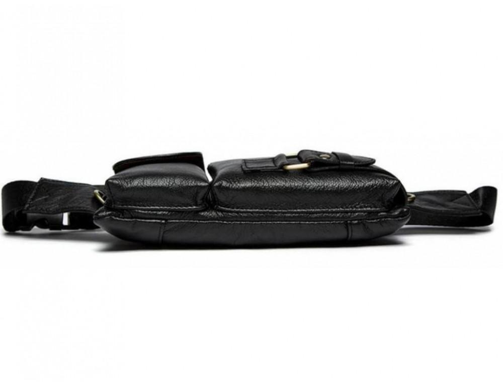 Чёрная кожаная сумка на пояс Bexhill Bx9080A - Фото № 7