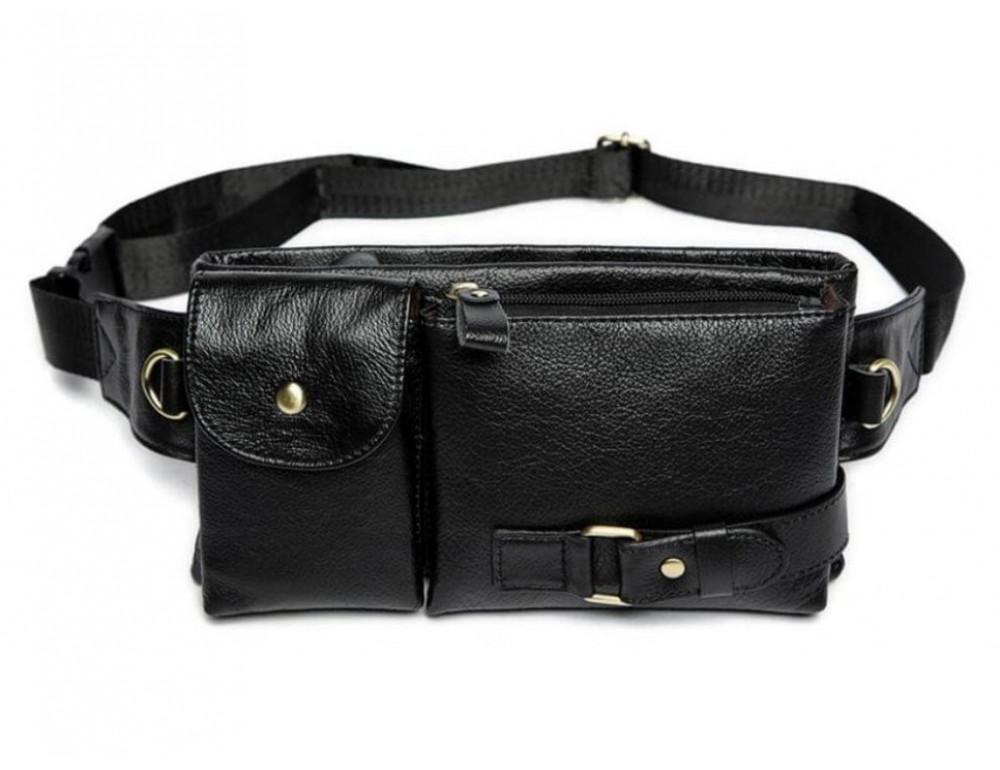 Чёрная кожаная сумка на пояс Bexhill Bx9080A - Фото № 8
