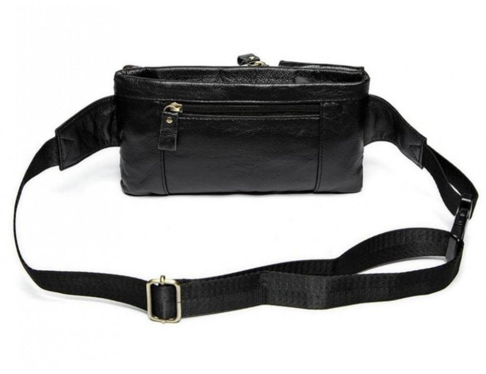 Чёрная кожаная сумка на пояс Bexhill Bx9080A - Фото № 9