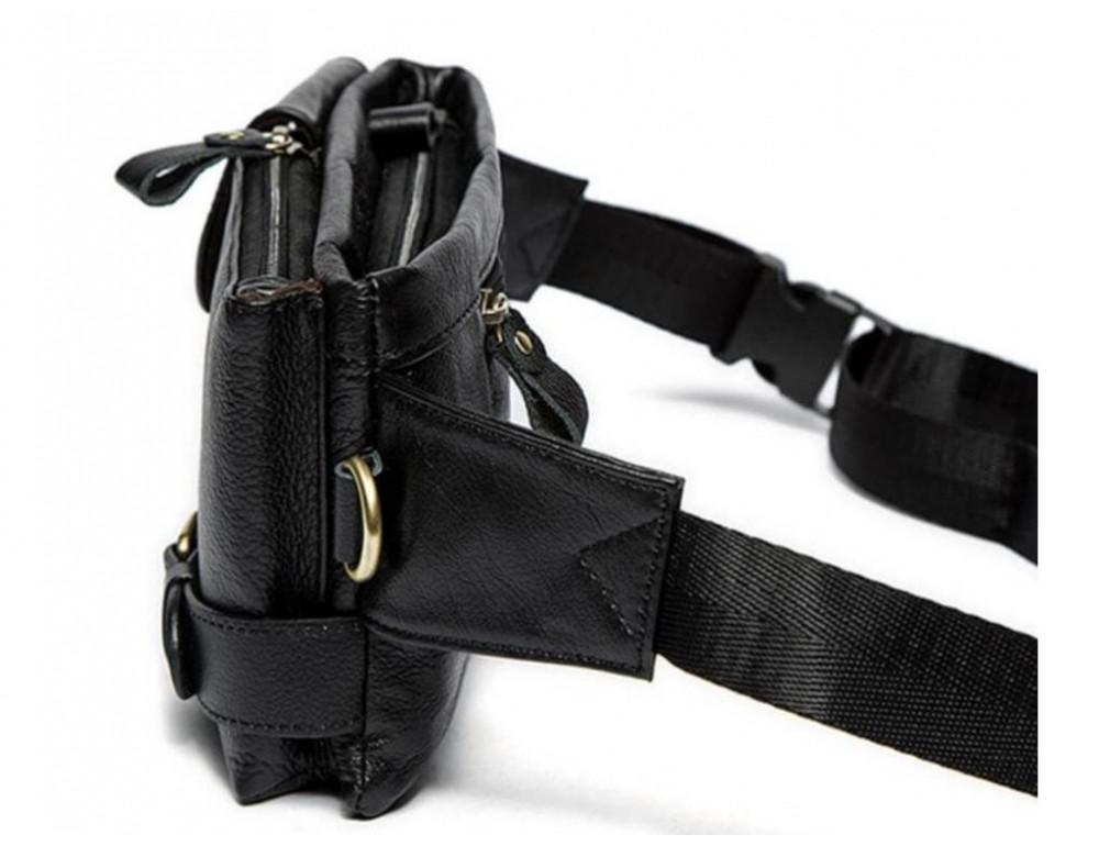 Чёрная кожаная сумка на пояс Bexhill Bx9080A - Фото № 10