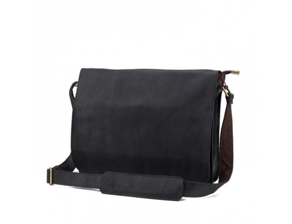 Мужская кожаная сумка через плечо TIDING BAG BXA603A чёрная - Фото № 3