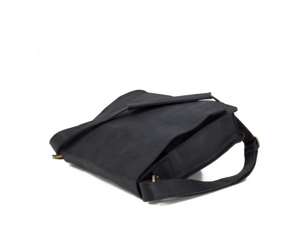 Мужская кожаная сумка через плечо TIDING BAG BXA603A чёрная - Фото № 4