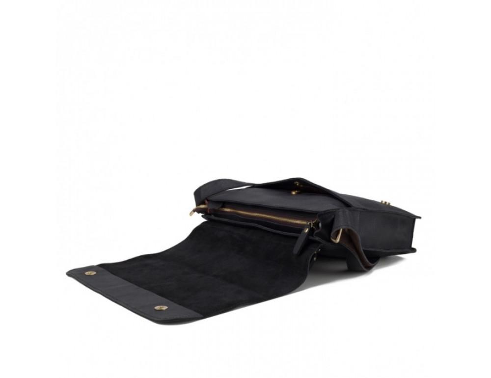 Мужская кожаная сумка через плечо TIDING BAG BXA603A чёрная - Фото № 5