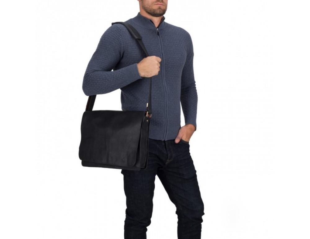 Мужская кожаная сумка через плечо TIDING BAG BXA603A чёрная - Фото № 6