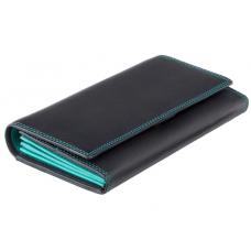 Женский кожаный кошелек VISCONTI COLORADO черный с бирюзовым