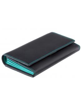 Жіночий шкіряний гаманець VISCONTI COLORADO чорний з бірюзовим