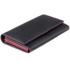 Женский кожаный кошелек VISCONTI CD-21 BLK/AQUA черный с красным