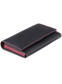 Женский кожаный кошелек VISCONTI CD21 BLK/RED черный с красным