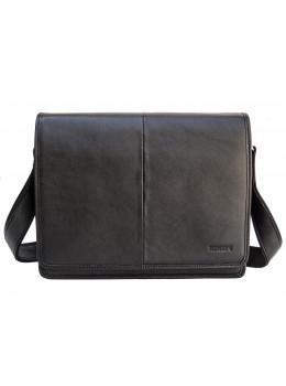Черная кожаная сумка через плечо формата А4 Newery N1921GA-1