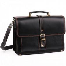 Черный портфель мужской из натуральной кожи Manufatto РП-10 AC