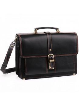 Чорний портфель чоловічий з натуральної шкіри Manufatto РП-10 AC