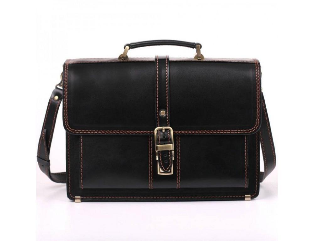 Черный портфель мужской из натуральной кожи Manufatto РП-10 AC - Фото № 2