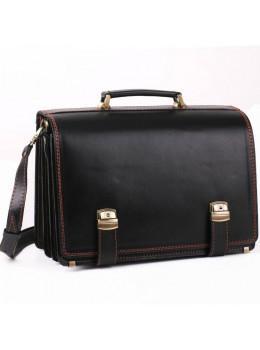 Чорний портфель чоловічий на три відділення Manufatto ТМ-1 AC