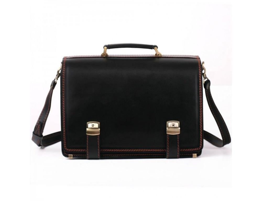 Черный портфель мужской на три отделения Manufatto ТМ-1 AC - Фото № 8