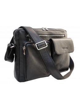 Чёрная кожаная сумка через плечо формата А-4 Newery N9812GA