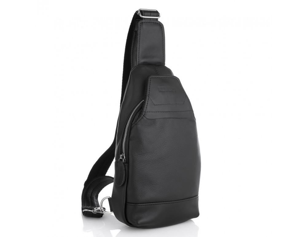 Чёрная кожаная сумка через плечо Newery N116GA