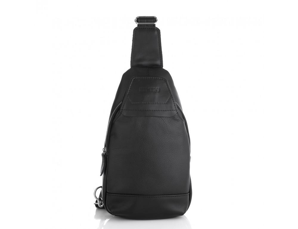 Чёрная кожаная сумка через плечо Newery N116GA - Фото № 3