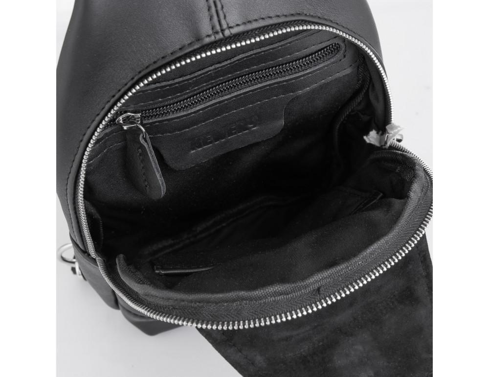 Чёрная кожаная сумка через плечо Newery N116GA - Фото № 4