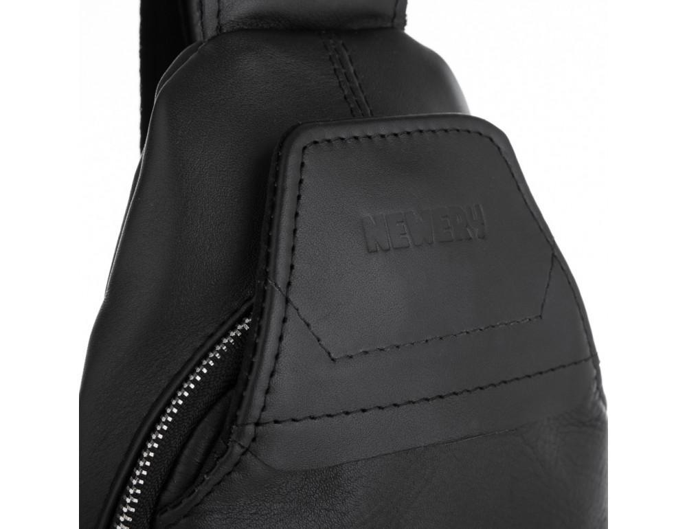 Чёрная кожаная сумка через плечо Newery N116GA - Фото № 5