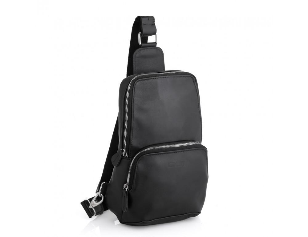 Чёрная кожаная сумка слинг среднего размера Newery N41719GA - Фото № 1
