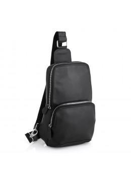 Чёрная кожаная сумка слинг среднего размера Newery N41719GA