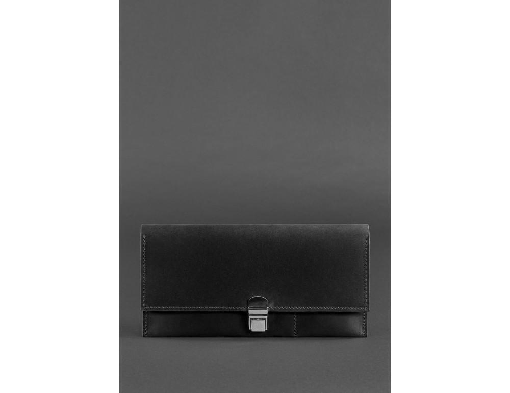 Чёрный кошелёк под документы из винтажной кожи Blanknote BN-TK-2-G-KR - Фото № 1