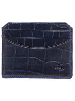 Синий кожаный картхолдер под крокодила Visconti CR90 BLUE