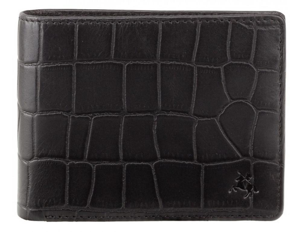 Чёрный мужской кожаный портмоне Visconti CR92 BLK Gator c RFID (Black) - Фото № 1
