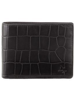 Чёрный мужской кожаный портмоне Visconti CR92 BLK Gator c RFID (Black)