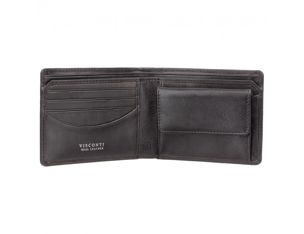 Чёрный мужской кожаный портмоне Visconti CR92 BLK Gator c RFID (Black) - Фото № 2