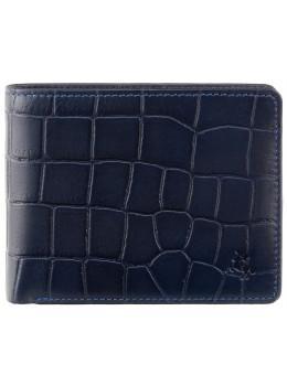 Синий мужской кожаный портмоне Visconti CR92 BLUE Gator c RFID