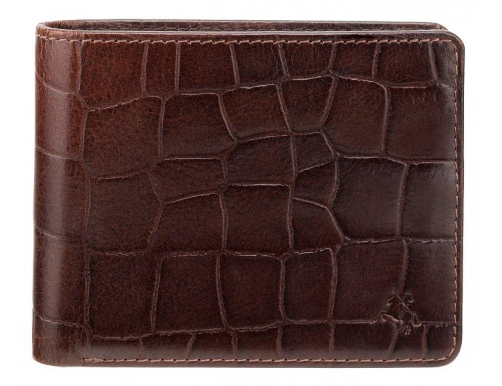 Коричневый мужской кожаный портмоне Visconti CR92 BRN Gator c RFID  - Фото № 1