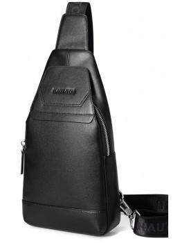 Мужская кожаная сумка-рюкзак Hautton DB116A чёрный