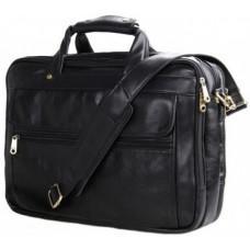 Вместительный кожаный портфель JASPER&MAINE 7146A чёрный