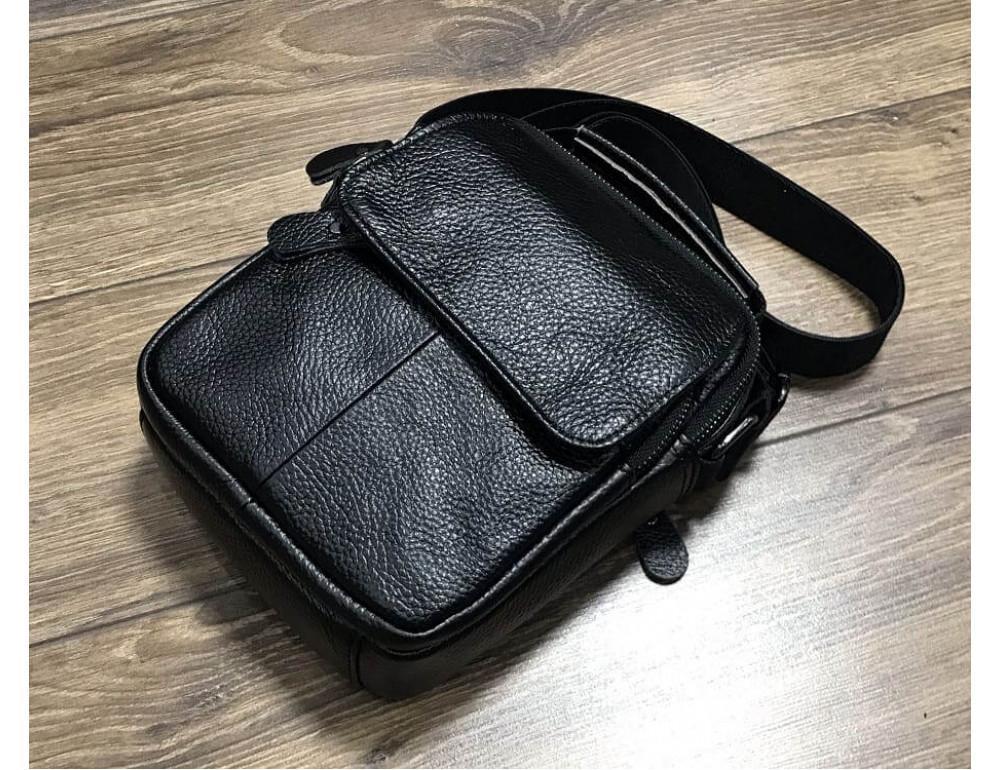 Кожаный мессенджер TIDING BAG A25-1188A чёрный - Фото № 3