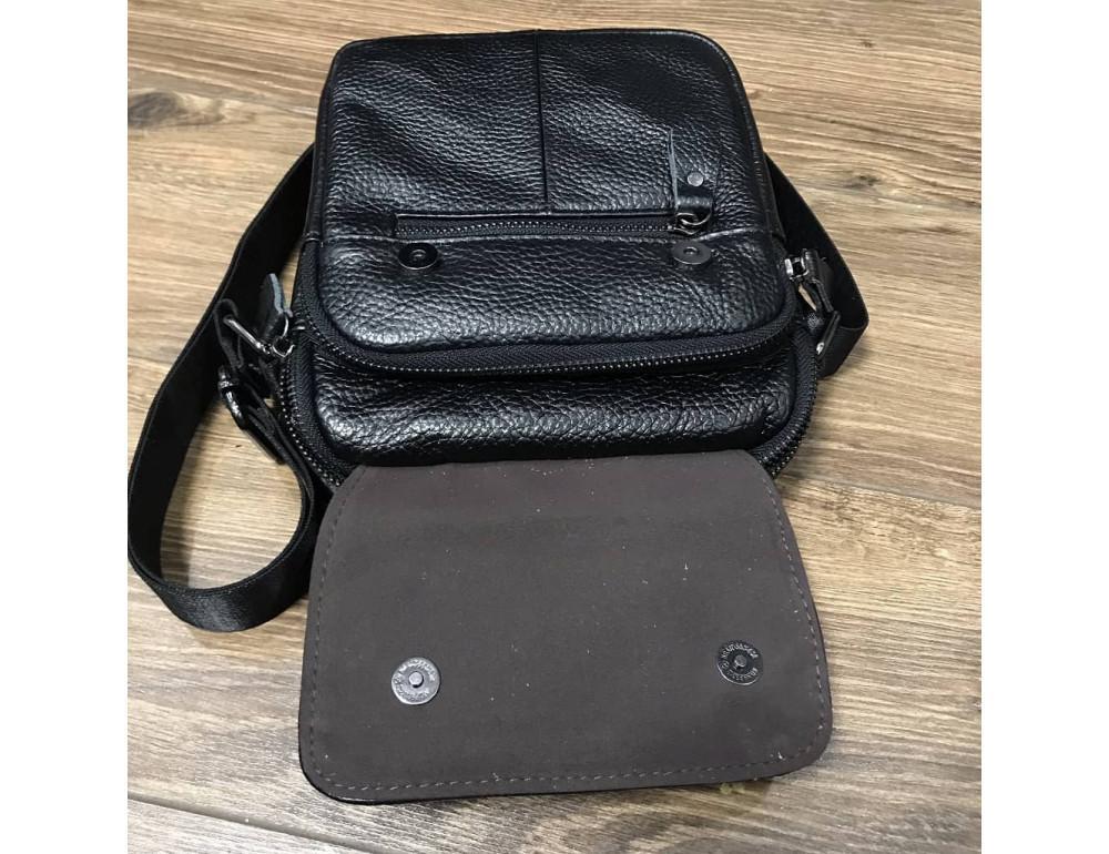 Кожаный мессенджер TIDING BAG A25-1188A чёрный - Фото № 4